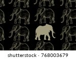 elephant. seamless pattern with ... | Shutterstock .eps vector #768003679
