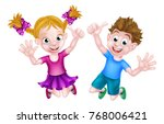 happy cartoon young boy and... | Shutterstock .eps vector #768006421