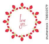 flower circle frame vector... | Shutterstock .eps vector #768010579