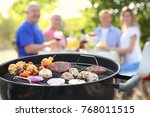 barbecue grill with tasty... | Shutterstock . vector #768011515