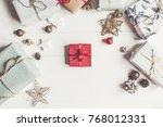 merry christmas concept  flat...   Shutterstock . vector #768012331