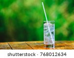 glass glass. mineral water with ...   Shutterstock . vector #768012634
