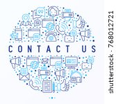 contact us concept in circle... | Shutterstock .eps vector #768012721
