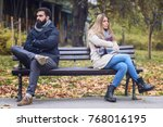 couple sitting in park having... | Shutterstock . vector #768016195