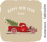 christmas truck  side view in... | Shutterstock .eps vector #768016354