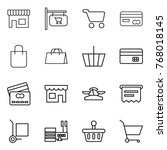 thin line icon set   shop ... | Shutterstock .eps vector #768018145