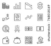 thin line icon set   coin stack ... | Shutterstock .eps vector #768018169
