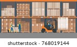 warehouse interior with goods ... | Shutterstock .eps vector #768019144