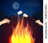 campfire marshmallow... | Shutterstock .eps vector #768021601