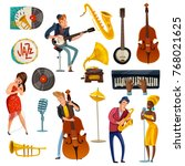 jazz music cartoon set with... | Shutterstock .eps vector #768021625