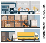 smart factory 4.0  warehouse... | Shutterstock .eps vector #768022885