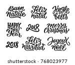 merry christmas  feliz navidad  ... | Shutterstock .eps vector #768023977