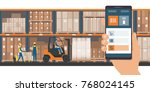 warehousing and storage app on... | Shutterstock .eps vector #768024145