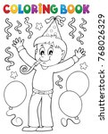 coloring book boy celebrating... | Shutterstock .eps vector #768026329