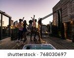 multi ethnic group of friends... | Shutterstock . vector #768030697