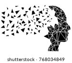 human head shattering background