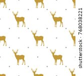 the pattern depicting the deer... | Shutterstock .eps vector #768038221