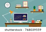 office desk or table with... | Shutterstock .eps vector #768039559