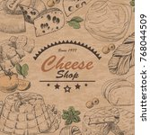vector background with cheese... | Shutterstock .eps vector #768044509