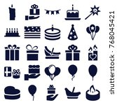 set of 25 birthday filled icons ... | Shutterstock .eps vector #768045421