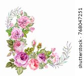 flowers corner with watercolor... | Shutterstock . vector #768047251