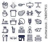 set of 25 restaurant outline... | Shutterstock .eps vector #768047911