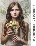 girl with long hair and bouquet ...   Shutterstock . vector #768048847