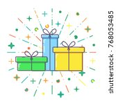 flat gift boxes vector. | Shutterstock .eps vector #768053485