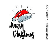 santa hat and wishing you merry ... | Shutterstock .eps vector #768053779