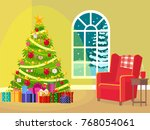 interior of a christmas room. | Shutterstock .eps vector #768054061