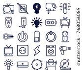 set of 25 electric outline... | Shutterstock .eps vector #768056089