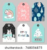 Stock vector set of christmas tags with cute animals and hand drawn decoration elements vector illustration 768056875