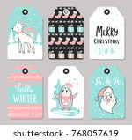 Stock vector set of christmas tags with cute animals and hand drawn decoration elements vector illustration 768057619