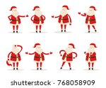 set of santa clauses in... | Shutterstock .eps vector #768058909