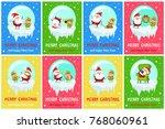 merry christmas posters santa...   Shutterstock .eps vector #768060961