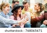 group of happy friends having... | Shutterstock . vector #768065671