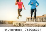 athletic couple of friends... | Shutterstock . vector #768066334