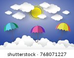 full color umbrella with cloud... | Shutterstock .eps vector #768071227
