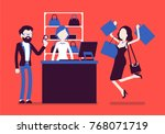 man paying for shopping. young... | Shutterstock .eps vector #768071719