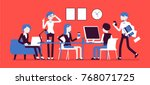 busy day in a small office.... | Shutterstock .eps vector #768071725