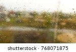 drops of rain on the window as... | Shutterstock . vector #768071875