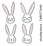 Stock vector hand drawn cute bunny faces with different emotions and expressions doodle rabbit illustration 768077644