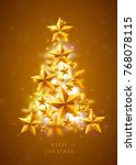 christmas and new years golden... | Shutterstock .eps vector #768078115