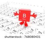 boron element symbol   happy... | Shutterstock . vector #768080431