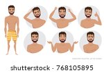 set of emotions and gestures to ... | Shutterstock .eps vector #768105895