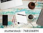 working desk of studen or...   Shutterstock . vector #768106894