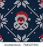 winter christmas x mas knitted... | Shutterstock .eps vector #768107341