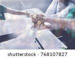 doctors and nurses coordinate... | Shutterstock . vector #768107827