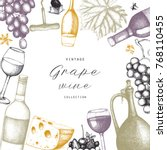 vintage wine card.  vector... | Shutterstock .eps vector #768110455