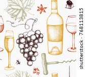 vintage wine background. ... | Shutterstock .eps vector #768113815